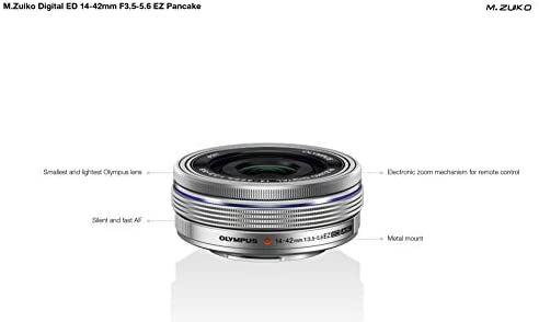 31Nv89JEbmL. AC  - Olympus 14-42mm f3.5-5.6 EZ Interchangeable Lens for Olympus/Panasonic Micro 4/3 Digital Camera (Silver) - International Version (No Warranty)