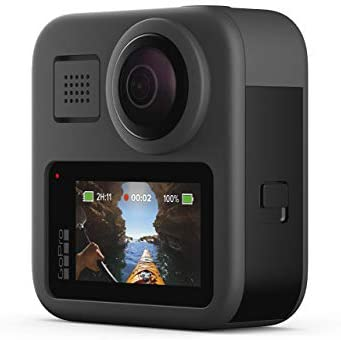 31bMfB0MLFL. AC  - GoPro MAX Waterproof 360 + Traditional Camera with Touch Screen Spherical 5.6K30 HD Video 16.6MP 360 Photos 1080p Live Streaming Stabilization (Renewed)