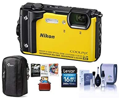 41I KlQFXHL. AC  - Nikon Coolpix W300 Point & Shoot Camera, Yellow - Bundle with 16GB SDHC Card, Camera Case, Cleaning Kit, Mac Software Package
