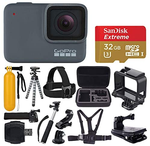 510UfPa2GbL. AC  - GoPro HERO 7 Silver Waterproof Digital Action Camera + Sandisk Extreme 32GB MicroSDHC Memory Card + Medium Case + Flexible Tripod + Head & Chest Strap + Monopod + Floating Handle + Wrist Strap + Clamp