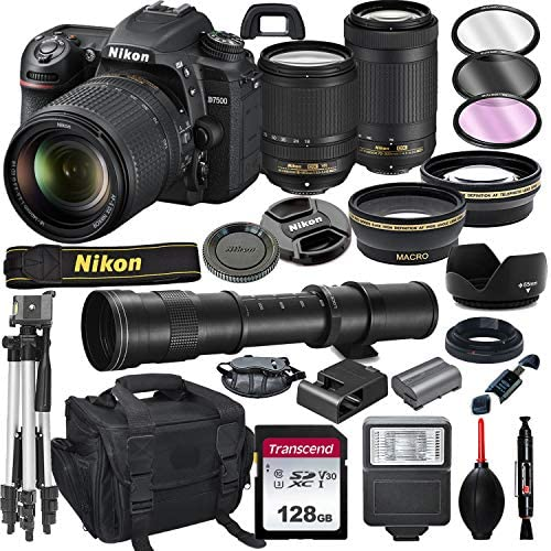 51go8pYQGAL. AC  - Nikon D7500 DSLR Camera with 18-140mm VR and 70-300mm Lens Bundle with 420-800mm Preset f/8 Telephoto Lens + 128GB Card, Tripod, Flash, and More (23pc Bundle)