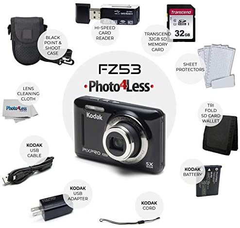 51kRjrVgHuL. AC  - Kodak PIXPRO FZ53 16.15MP Digital Camera (Black) + Black Point & Shoot Case + Transcend 32GB UHS-I U1 SD Memory Card & More!