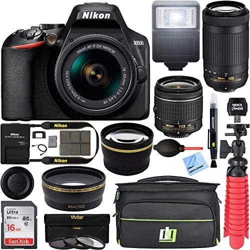 51pv7rWjvvL. AC  - Nikon D3500 24.2MP DSLR Camera with AF-P 18-55mm VR Lens & 70-300mm Dual Zoom Lens Kit 1588 (Renewed) with 16GB Accessory Bundle