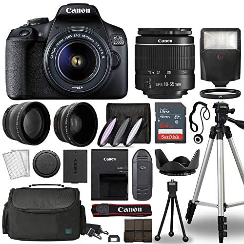51qfcrg0IRL. AC  - Canon EOS 2000D / Rebel T7 Digital SLR Camera Body w/Canon EF-S 18-55mm f/3.5-5.6 Lens 3 Lens DSLR Kit Bundled with Complete Accessory Bundle + 64GB + Flash + Case & More - International Model