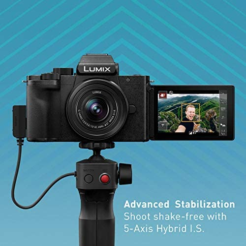 51xw04A+khL. AC  - Panasonic LUMIX G100 4k Mirrorless Camera, Lightweight Camera for Photo and Video, Built-in Microphone, Micro Four Thirds with 12-32mm Lens, 5-Axis Hybrid I.S, 4K 24p 30p Video, DC-G100KK (Black)