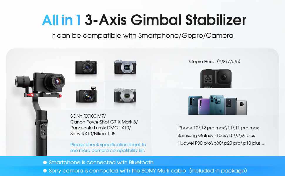 13b40d0e dd65 4aa9 a685 60388ac72740.  CR0,0,970,600 PT0 SX970 V1    - Hohem All in 1 3-Axis Gimbal Stabilizer for Compact Cameras/Action Camera/Smartphone w/ 600° Inception Mode, 0.9lbs Payload for iPhone 11 Pro Max/Gopro Hero 8/Sony Compact Camera RX100 - iSteady Multi