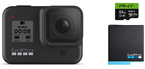 31oV5aghrpL. AC  - GoPro HERO8 Black Waterproof Action Camera with Touch Screen 4K Ultra HD Video 12MP Photos 1080p Live with Accessory Bundle - 1 Additional GoPro USA Batteries + PNY 64GB U3 microSDHC Card