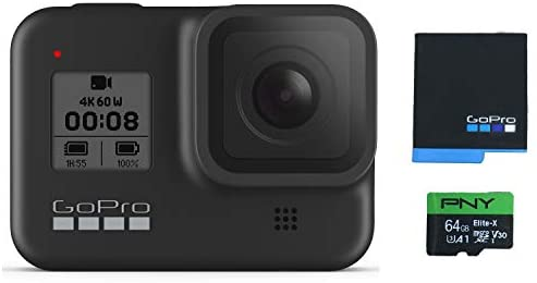 31wm1s9LJRL. AC  - GoPro HERO8 Black Waterproof Action Camera with Touch Screen 4K Ultra HD Video 12MP Photos 1080p Live with Accessory Bundle - 1 Additional GoPro USA Batteries + PNY 64GB U3 microSDHC Card