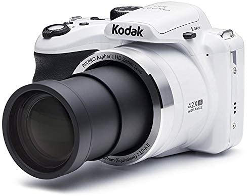 412NxwA+2YL. AC  - KODAK PIXPRO AZ421 Astro Zoom 16MP Digital Camera with 42x Optical Zoom (White) Bundle with 32GB SD Memory Card and Holster Bag (3 Items)