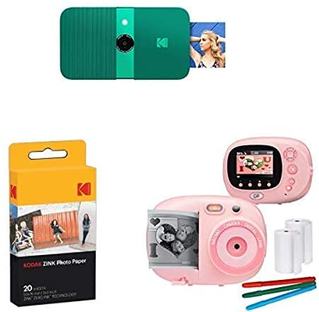 416kVrAS3eL. AC  - KODAK Smile Instant Print Digital Camera (Green), with Extra Paper and Kids Instant Print Camera & Video Camcorder Bundle with Frames, Filters for Hours of Fun - Pink