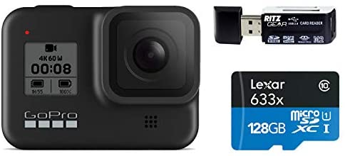 41G62PWjC7L. AC  - GoPro HERO8 Black — Waterproof Action Camera with Touch Screen 4K Ultra HD Video 12MP Photos 1080p Live Streaming Stabilization with Lexar 128GB U3 Memory Card and Ritz Gear Memory Card Reader