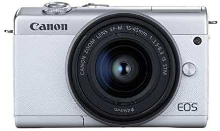 41H8NmEzT8L. AC  - Canon EOS M200 Compact Mirrorless Digital Vlogging Camera with EF-M 15-45mm Lens, Vertical 4K Video Support, 3.0-inch Touch Panel LCD, Built-in Wi-Fi, and Bluetooth Technology, White