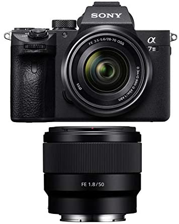 41PFIlMtiML. AC  - Sony a7 III Full Frame Mirrorless Camera with 28-70mm, FE 50mm f/1.8 Lens, 64GB Card, and Accessory Bundle (9 Items)