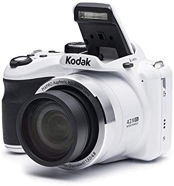 41RZYCaGhEL. AC  - Kodak PIXPRO Astro Zoom AZ421 16MP Digital Camera (White) with Kodak 32GB SD Card, Focus DSLR Camera Accessory Kit, Vidpro Battery Charger and Replacement Lithium Ion Battery Bundle (5 Items)