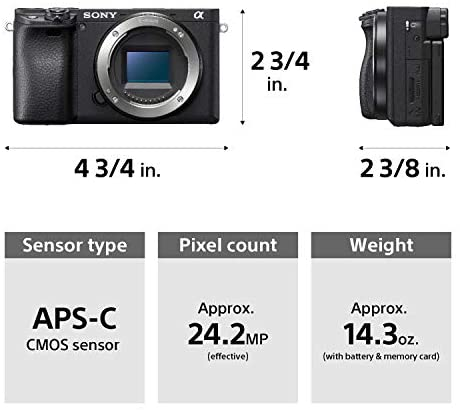 41T5EGBBTuL. AC  - Sony Alpha a6400 Mirrorless Camera: Compact APS-C Interchangeable Lens Digital Camera with Real-Time Eye Auto Focus, 4K Video, Flip Screen & 18-135mm Lens - E Mount Compatible Cameras - ILCE-6400M/B