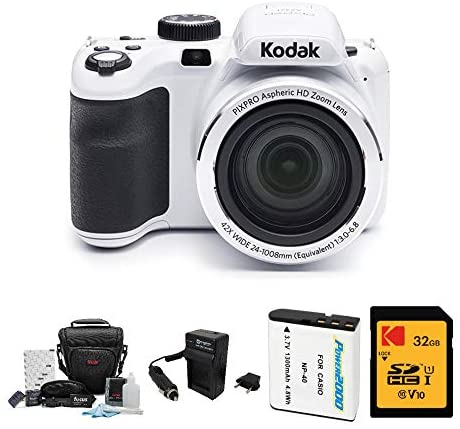41YdniW8kZL. AC  - Kodak PIXPRO Astro Zoom AZ421 16MP Digital Camera (White) with Kodak 32GB SD Card, Focus DSLR Camera Accessory Kit, Vidpro Battery Charger and Replacement Lithium Ion Battery Bundle (5 Items)