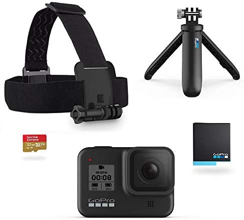 41yMaUAuEtL. AC  - GoPro Hero8 Black Holiday Bundle - Includes Hero8 Black Camera Plus Shorty, Head Strap, 32GB SD Card, and 2 Rechargeable Batteries