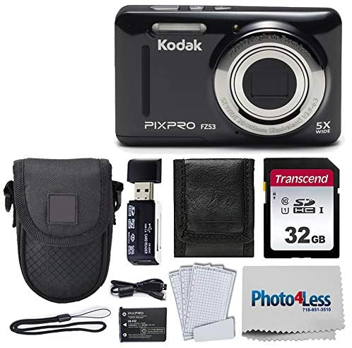 51 59Al+qvL. AC  - Kodak PIXPRO FZ53 16.15MP Digital Camera (Black) + Black Point & Shoot Case + Transcend 32GB UHS-I U1 SD Memory Card & More!