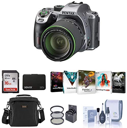 510Tmo9gjHL. AC  - Pentax K-70 24MP Full HD DLR Camera with SMC DA 18-135mm f/3.5-5.6 ED AL DC WR Lens, Silver - Bundle with 16GB SDHC Card, Camera Bag, 62mm Filter Kit, Cleaning Kit, Memory Wallet, Software Package