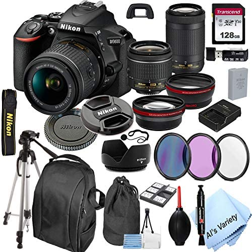5127G8R5fML. AC  - Nikon D5600 DSLR Camera with 18-55mm VR and 70-300mm Lenses + 128GB Card, Tripod,Back-Pack,Filters, 2X Telephoto Lens, HD Wide Angle Lens, Hood, Lens Pouch, and More (28pcs)