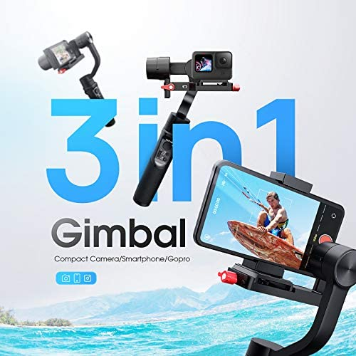 513l8WmNiPL. AC  - Hohem All in 1 3-Axis Gimbal Stabilizer for Compact Cameras/Action Camera/Smartphone w/ 600° Inception Mode, 0.9lbs Payload for iPhone 11 Pro Max/Gopro Hero 8/Sony Compact Camera RX100 - iSteady Multi