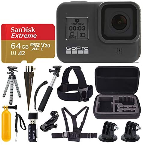 515vHTU7ENL. AC  - GoPro HERO8 Black Waterproof Action Camera w/Touch Screen 4K HD Video 12MP Photos + Sandisk Extreme 64GB Micro Memory Card + Hard Case + Head Strap + Chest Strap + Gopro Hero 8 - Top Value Accessories