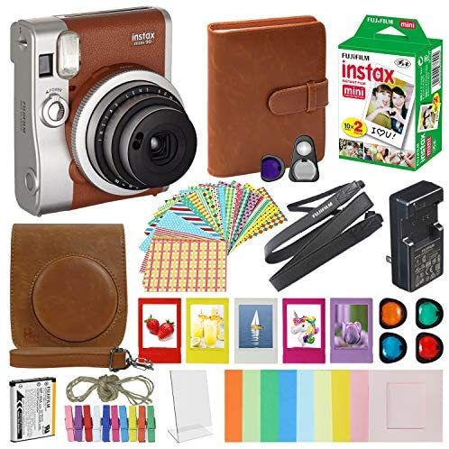 5168INUghtL. AC  - Fujifilm Instax Mini 90 Neo Classic Instant Film Camera Brown with 20 Instant Film Accessory Bundle
