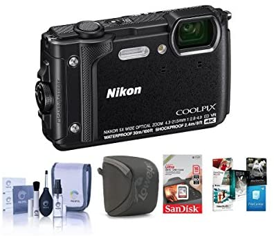 518G N uvlL. AC  - Nikon Coolpix W300 Point & Shoot Camera, Black - Bundle with 16GB SDHC Card, Camera Case, Cleaning Kit, PC Software Package