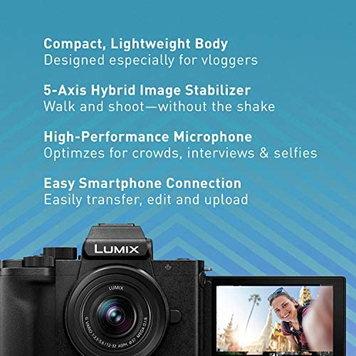 51A0N6qfkmL. AC  - Panasonic LUMIX G100 4k Mirrorless Camera, Lightweight Camera for Photo and Video, Built-in Microphone, Micro Four Thirds with 12-32mm Lens, 5-Axis Hybrid I.S, 4K 24p 30p Video, DC-G100KK (Black)