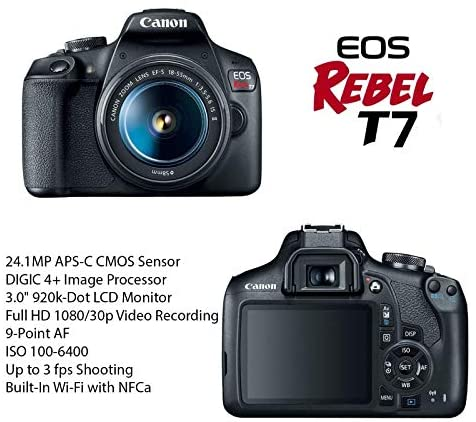 51AOq 51dKL. AC  - Canon EOS Rebel T7 DSLR Camera Bundle with Canon EF-S 18-55mm f/3.5-5.6 is II Lens + 2pc SanDisk 32GB Memory Cards + Accessory Kit (Renewed)