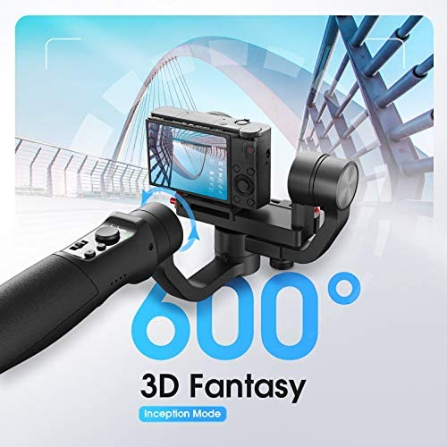 51BSxHshXhL. AC  - Hohem All in 1 3-Axis Gimbal Stabilizer for Compact Cameras/Action Camera/Smartphone w/ 600° Inception Mode, 0.9lbs Payload for iPhone 11 Pro Max/Gopro Hero 8/Sony Compact Camera RX100 - iSteady Multi