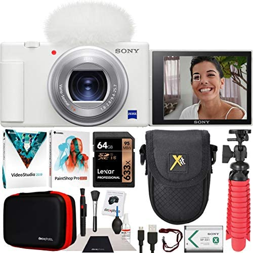 51C1Xk NQHL. AC  - Sony ZV-1 Compact Digital Vlogging 4K Camera for Content Creators & Vloggers DCZV1/W Bundle with Deco Gear Case + Software Kit + 64GB Card + Compact Tripod/Handheld Grip and Accessories