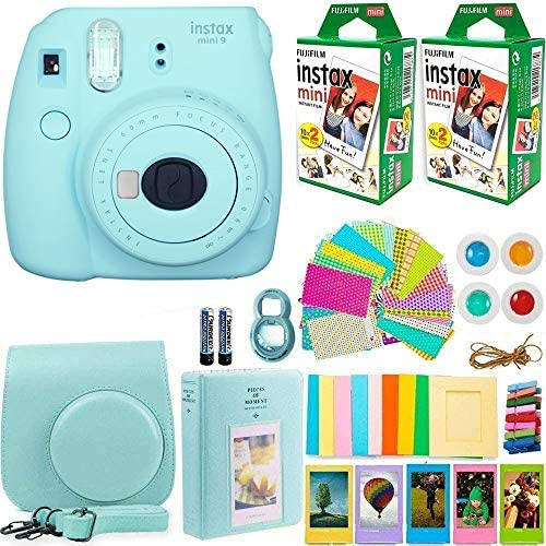 51CONPEMhTL. AC  - FujiFilm Instax Mini 9 Instant Camera + Fujifilm Instax Mini Film (40 Sheets) Bundle with Deals Number One Accessories Including Carrying Case, Color Filters, Photo Album + More (Ice Blue)