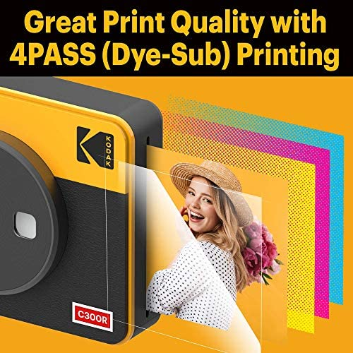 """51K8eOi8 EL. AC  - Kodak Mini Shot 3 Retro 2-in-1 Portable 3x3"""" Wireless Instant Camera & Photo Printer, Compatible with iOS, Android & Bluetooth, Real Photo HD 4Pass Technology & Laminated Finish – Yellow"""