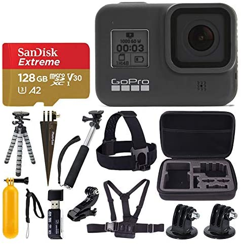 51M+30QMOjL. AC  - GoPro HERO8 Black Waterproof Action Camera w/Touch Screen 4K HD Video 12MP Photos +Sandisk Extreme 128GB Micro Memory Card + Hard Case + Head Strap + Chest Strap + Gopro Hero 8 - Top Value Accessories