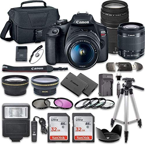 51NwIDTOlzL. AC  - Canon EOS Rebel T7 DSLR Camera Bundle with Canon EF-S 18-55mm f/3.5-5.6 is II Lens + Canon EF 75-300mm f/4-5.6 III Lens + 2pc SanDisk 32GB Memory Cards + Accessory Kit (Renewed)