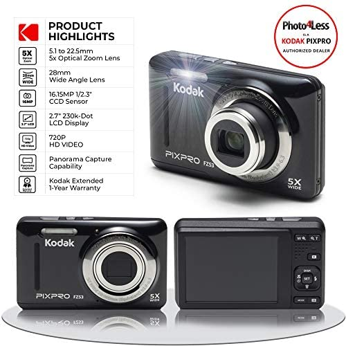 51OHRK+NaZL. AC  - Kodak PIXPRO FZ53 16.15MP Digital Camera (Black) + Black Point & Shoot Case + Transcend 32GB UHS-I U1 SD Memory Card & More!