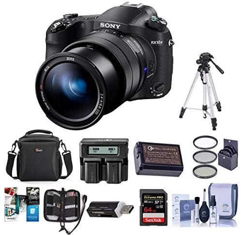51Pno2uA5yL. AC  - Sony Cyber-Shot DSC-RX10 IV Digital Camera Black - Bundle with Camera Case, 72mm Filter Kit, 64GB SDXC U3 Card, Spare Battery, Tripod, Memory Wallet, Card Reader, Cleaning Kit, Dual Charger, Software