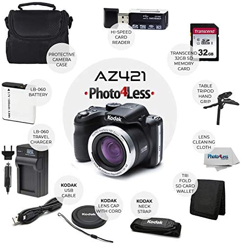 51PrcsGjrqL. AC  - Kodak PIXPRO AZ421 Digital Camera (Black) + Point & Shoot Camera Case + Transcend 32GB SD Memory Card + Extra Battery & Charger + USB Card Reader + Table Tripod + Accessories
