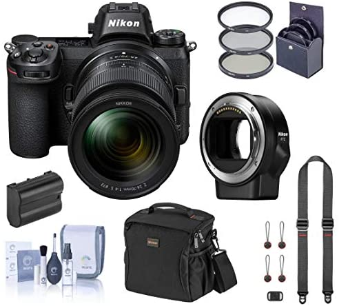 51Ps7XqDs5L. AC  - Nikon Z7 FX-Format Mirrorless Digital Camera with 24-70mm Lens, Basic Bundle with FTZ Mount Adapter, Neck Strap, Extra Battery and Accessories