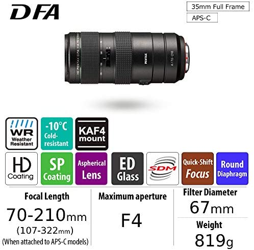 51QLQXIG0QL. AC  - HD PENTAX-D FA 70-210mm F4ED SDM WR: Telephoto zoom lens for DSLR cameras High-performance while maintaing constant f/4 aperture Weather-resistant construction min. focusing distance of 0.95 meters