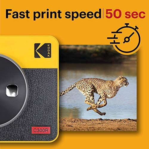 """51REIZ1DQ1L. AC  - Kodak Mini Shot 3 Retro 2-in-1 Portable 3x3"""" Wireless Instant Camera & Photo Printer, Compatible with iOS, Android & Bluetooth, Real Photo HD 4Pass Technology & Laminated Finish – Yellow"""