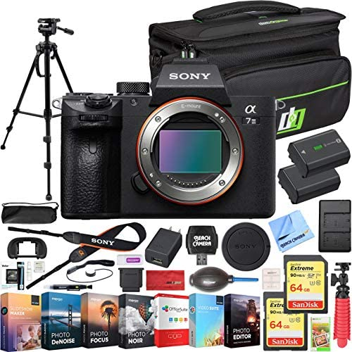 51UNwGipJ L. AC  - Sony a7 III Full Frame Mirrorless Interchangeable Lens 4K HDR Camera ILCE-7M3 Body Bundle with Deco Gear Travel Bag, 2X 64GB Memory Cards, Editing Suite and Accessories (18 Items)