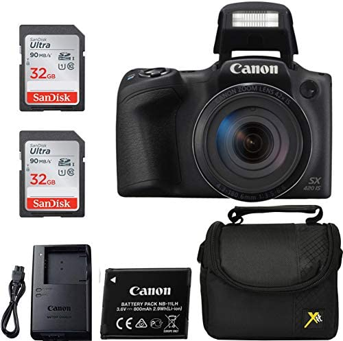 51VLXv7EoPL. AC  - Canon Powershot SX420 Point & Shoot Digital Camera Black + 2 Sandisk Ulrta 32GB Class 10 Memory cards + Premium Camera Case, Classic Bundle