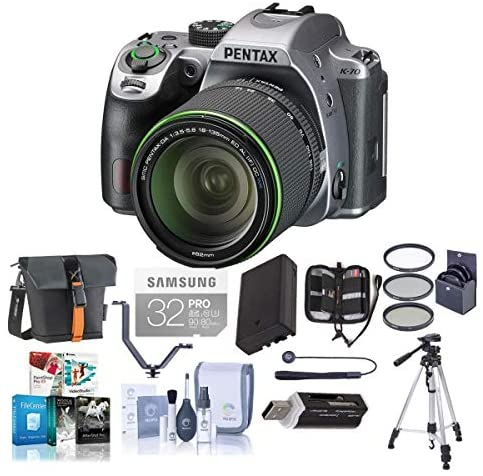 51X31Bxm8bL. AC  - Pentax K-70 24MP Full HD DLR Camera with SMC DA 18-135mm f/3.5-5.6 ED AL DC WR Lens, Silver - Bundle with Holster Case, Spare Battery, Tripod, 62mm Filter Kit, Cleaning Kit, Software Package and More