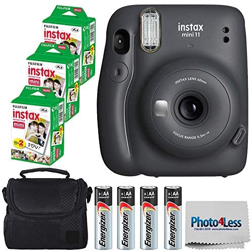 51XghjyPVZL. AC  - Fujifilm Instax Mini 11 Instant Camera - Charcoal Grey (16654786) + 3x Packs Fujifilm Instax Mini Twin Pack Instant Film + Batteries + Case - Instant Camera Bundle