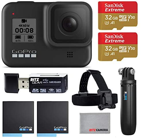 51Zq7TqdveL. AC  - GoPro Hero8 Black Action Camera with GoPro Holiday Accessory Bundle - Two 32gb U3 Memory Cards, Shorty Grip, Head Strap, and 2 Rechargeable Batteries