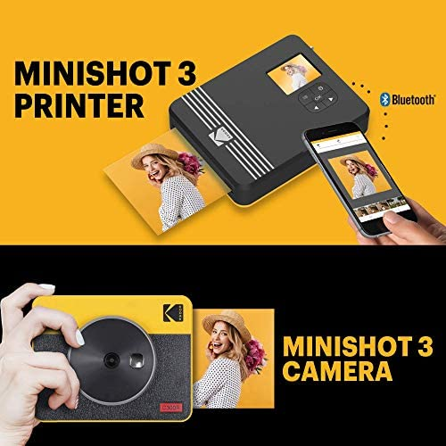 """51Zr1KXpSzL. AC  - Kodak Mini Shot 3 Retro 2-in-1 Portable 3x3"""" Wireless Instant Camera & Photo Printer, Compatible with iOS, Android & Bluetooth, Real Photo HD 4Pass Technology & Laminated Finish – Yellow"""