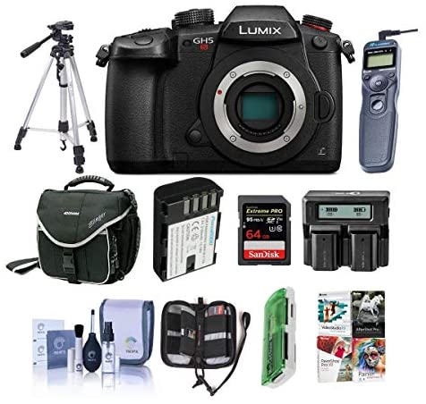 51bAzoOwM9L. AC  - Panasonic Lumix DC-GH5s Mirrorless Camera Body - Bundle with 64GB SDHC U3 Card, Spare Battery, Camera Case, Tripod, Remote Shuter Release, Dual Charger, Cleaning Kit, Software Package and More
