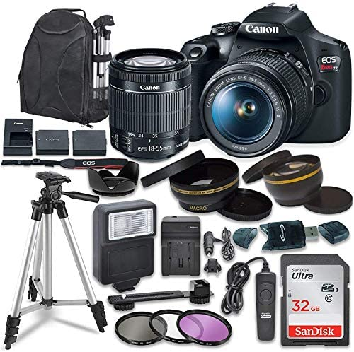 51fD9xdg KL. AC  - Canon EOS Rebel T7 Digital SLR Camera with Canon EF-S 18-55mm Image Stabilization II Lens, Sandisk 32GB SDHC Memory Cards, Accessory Bundle (Renewed)